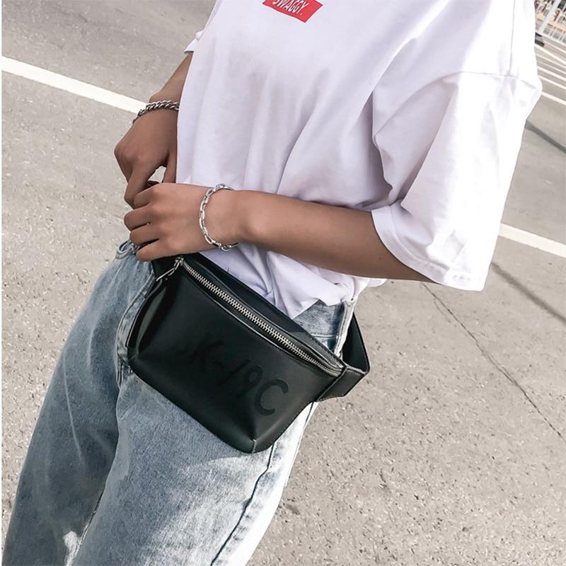 LEFTSIDE 2018 Women Cool Black Waist Bag PU Leather Letter Female Waist Pack Bags Luxury Brand Fashion Lady Chest Belt Bags