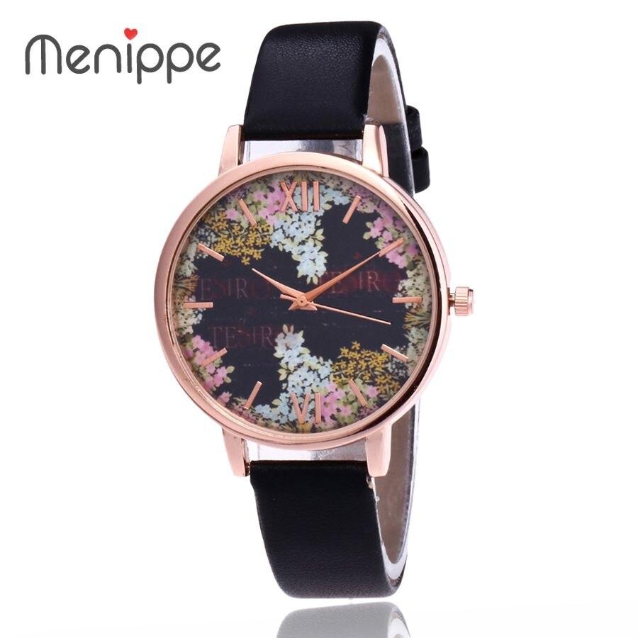 2017 Damen Armbanduhr Mode Frauen Uhren Marke Blumen Weisequarzuhr Lederne Uhr Frauen Relogio Feminino Aromatischer Geschmack