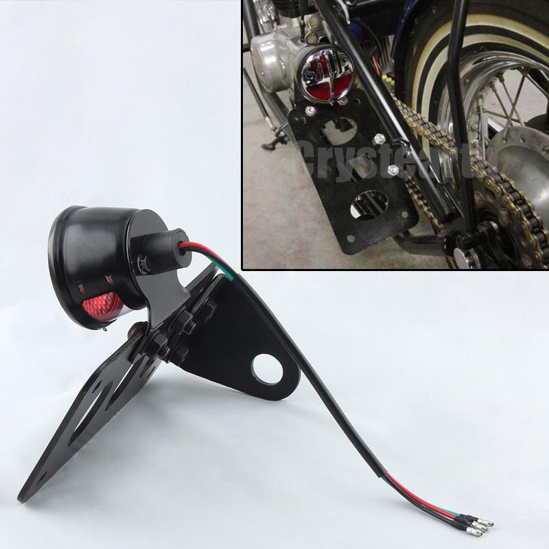 цена на High Quality Side Mount Vintage Motorcycle Stop Light Side Tail License Number Plate Brake Light For Harley Bobber Chopper