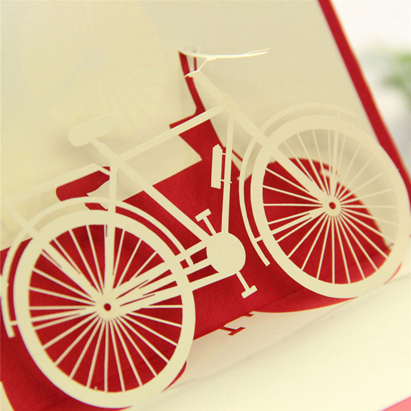 3D Pop Up Origami Paper Laser Cut Greeting Cards Creative Handmade – Bicycle Birthday Cards