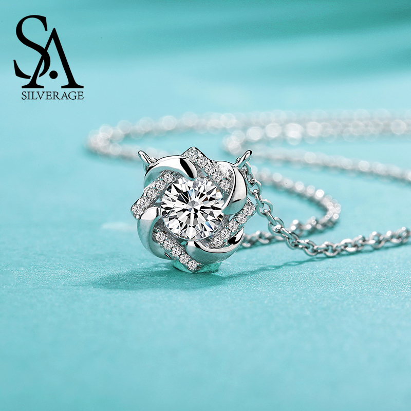 SA SILVERAGE 925 Sterling Silver Pendant Necklaces For Woman Chain Zirconia  Choker Women Collier
