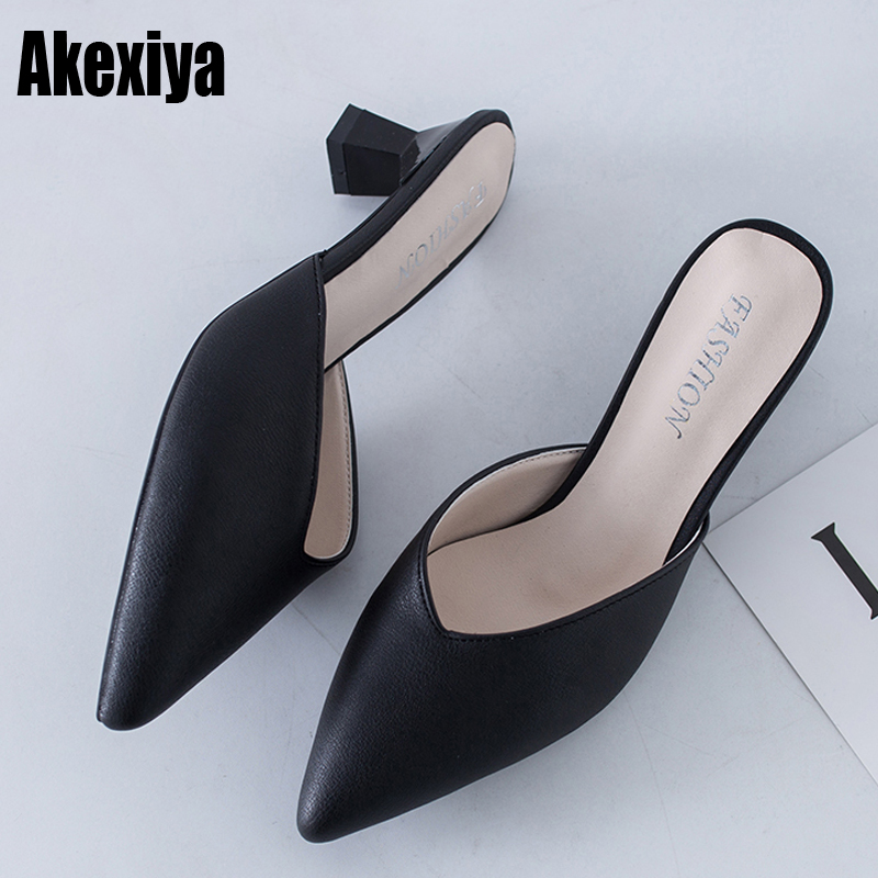 Women Low Heel Slippers Fashion Brand Mule Shoes Pointed Toe  Slippers Ladies PU Leather Zapatos Mujer Size 34-39 F382
