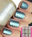 9 Tips/Hoja de Múltiples Uso Nail Art Stencil Plantilla Utilizada Para Nails Tip Pegatinas Láser Hueca de Plata UV Gel Polaco NF201