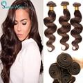 100% paquetes de pelo humano peruano onda del cuerpo teje 3 unids/lote 100 g/pcs extensión del pelo marrón claro #4 envío rápido no shed no maraña