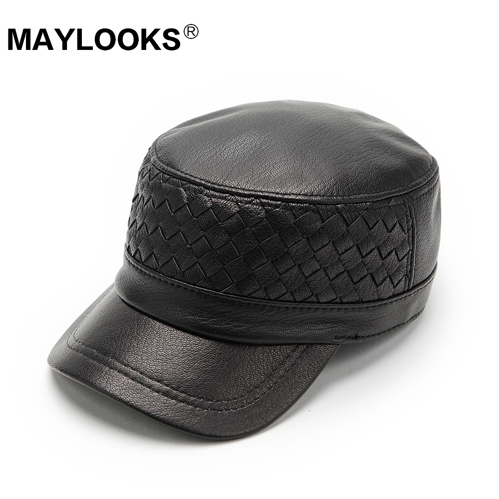 Genuine Leather Baseball Cap Men Hats And Caps Solid Color hand made Black Leather Leisure Fashion Travel Biker CS114 1 pcs 2014 hit han edition baseball cap men and women fashion hats in summer 55 60cm 4 colors