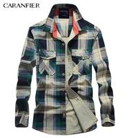 CARANFIER Spring New Men S Shirts Men S Brand Fashion Casual Plaid Shirt Slim Men S