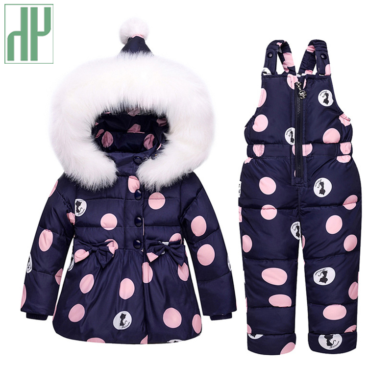 Winter jackets girls 90% Duck Down Coat children clothing sets Toddler Snowsuit Outerwear + Romper coats with fur Hooded Russian fashion girl thicken snowsuit winter jackets for girls children down coats outerwear warm hooded clothes big kids clothing gh236