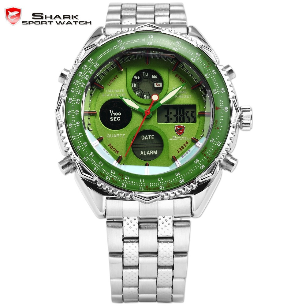 Eightgill Shark Sport Watch Dual Time Analog Digital Date Silver Stainless Steel Green Mens Gift Racing Quartz Wristwatch /SH112