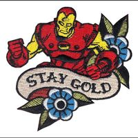 Stay Gold Iron Man Avengers Iron On Patches Superhero Super Hero Marvel Embroidered badge halloween costume cosplay clothing diy