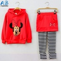2017 Spring Girls clothing set  t-shirt + leggings 2pcs / set culottes Cartoon hooded sweater hoodie two-piece suit