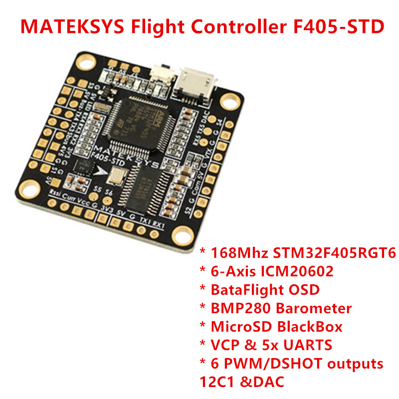 MATEKSYS Flight Controller F405-STD Betaflight OSD MicroSD BlackBox STM32F405RGT6 6 PWM/DSHOT Outputs BMP280 Barometer