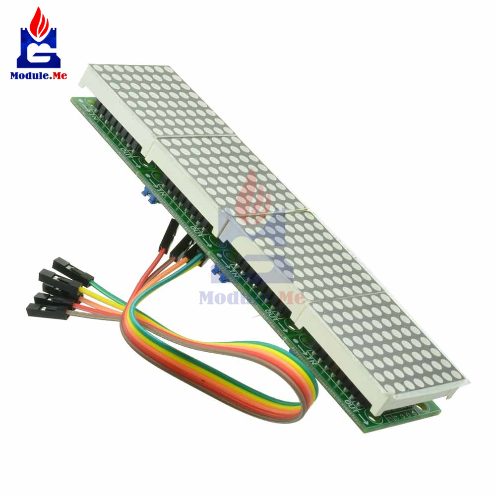 MAX7219 LED Microcontroller 4 In 1 Display With 5P Line Dot Matrix Control Module for Arduino 8 x 8 Dot 5V Common CathodeMAX7219 LED Microcontroller 4 In 1 Display With 5P Line Dot Matrix Control Module for Arduino 8 x 8 Dot 5V Common Cathode