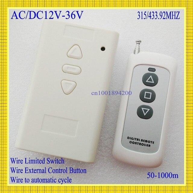 Interruptor de Control remoto con Motor de 12V, 24V, 36V, CA, CC, 2 canales, receptor hacia arriba y abajo, inalámbrico, función de aprendizaje