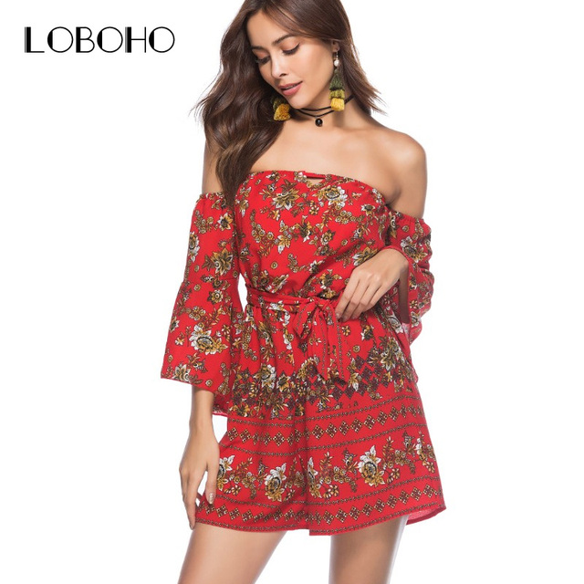 968304e1f4e Off Shoulder Rompers Womens Jumpsuit Autumn 2018 Chiffon Floral Print  Playsuit With Belt Holiday Casual Women Jumpsuit Short