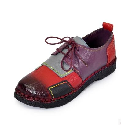 Women's Handmade Shoes Genuine Leather Flat Lacing Mother Shoes Woman Loafers Soft Single Casual Shoes Women Flats yaerni fashion loafers women shoes genuine leather shoes handmade soft comfortable flat shoes woman casual shoes women flats