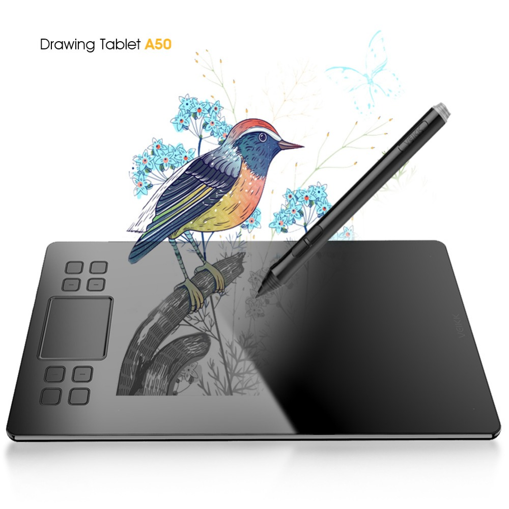 Graphique Dessin Tablet veikk A50 Numérique Stylo Tablet avec 8192 Niveaux Passive Stylo Compatible avec Windows et Mac Système