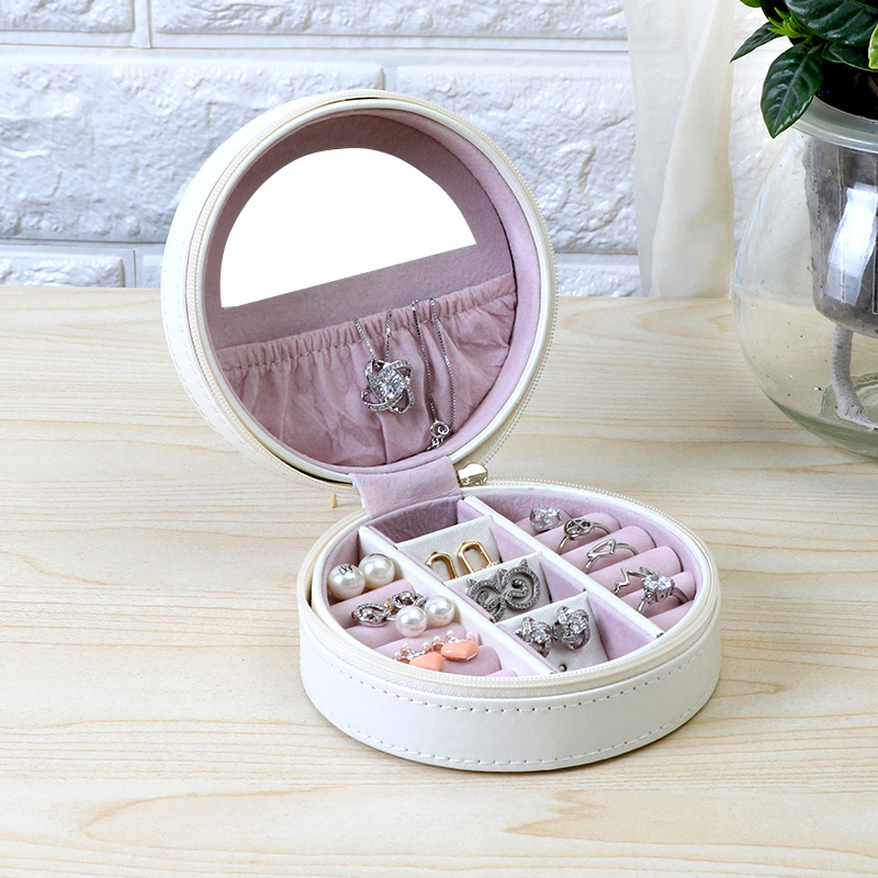 SIBAOLU Delicate And Compact Storage Box Korean Portable Jewelry Box Round Ring And Earring Jewelry Box Eco-Friendly Leather