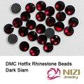 Moda Strass Hotfix DMC Sião Escuro DIY Hotfix Cristal E Pedras Para Acessórios de Vestuário Rodada Strass Flatback Vidro
