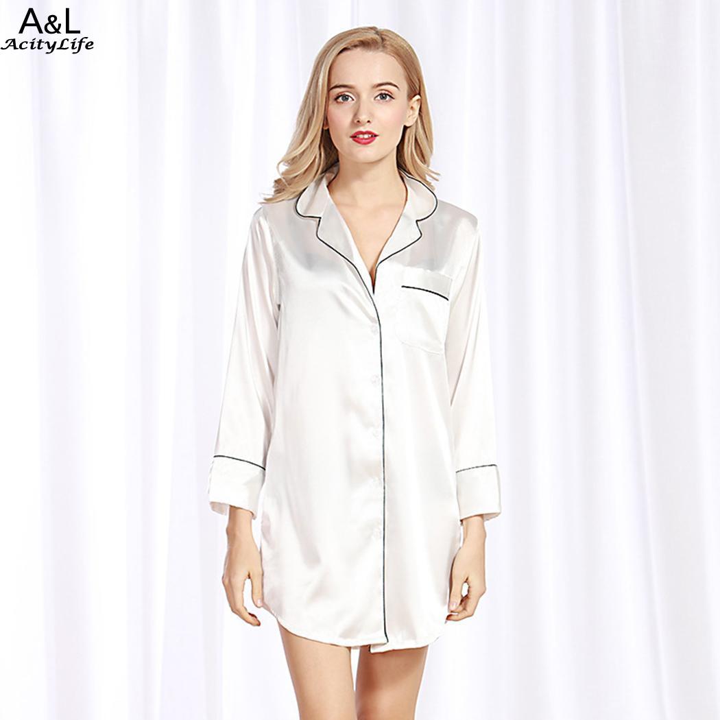 Button Lapel Long Sleeve Sleepwear Women Front Satin Boyfriend Style Sleepshirt