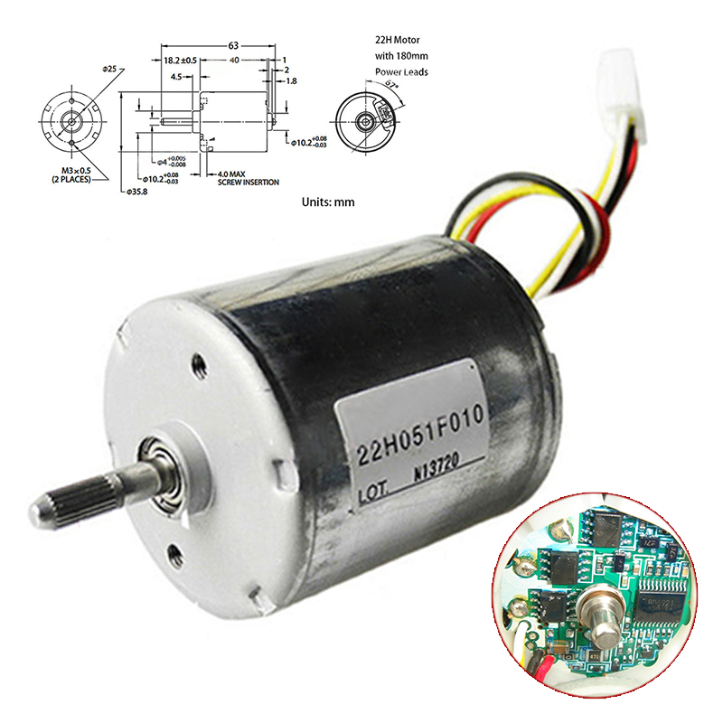 <font><b>10W</b></font> 12V-24V 22H051F Brushless <font><b>DC</b></font> <font><b>Motor</b></font> 0.14A-0.17A Dual Bearing Inner Drive High Speed Torque PWM BLDC Brushless <font><b>Motors</b></font> image