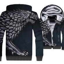 Game Of Thrones House Stark The Wolf Printed 3D Hoodies Men 2019 Winter Warm Sweatshirts Plus Size Zip Jacket Hip Hop Streetwear цена и фото