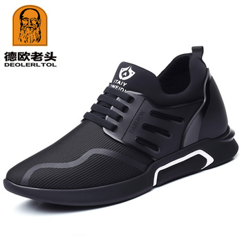 2019 Men's Shoes Quality Lycra Cow Leather Shoes Brand 6CM Increasing British Shoes New Spring Black Man Casual Height Shoes