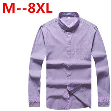 Plus size 9XL 8XL 7XL 6XL Men Shirt Brand Men'S Cuff Striped Long-Sleeved Shirt Male Camisa Masculina Casual Slim Chemise Homme