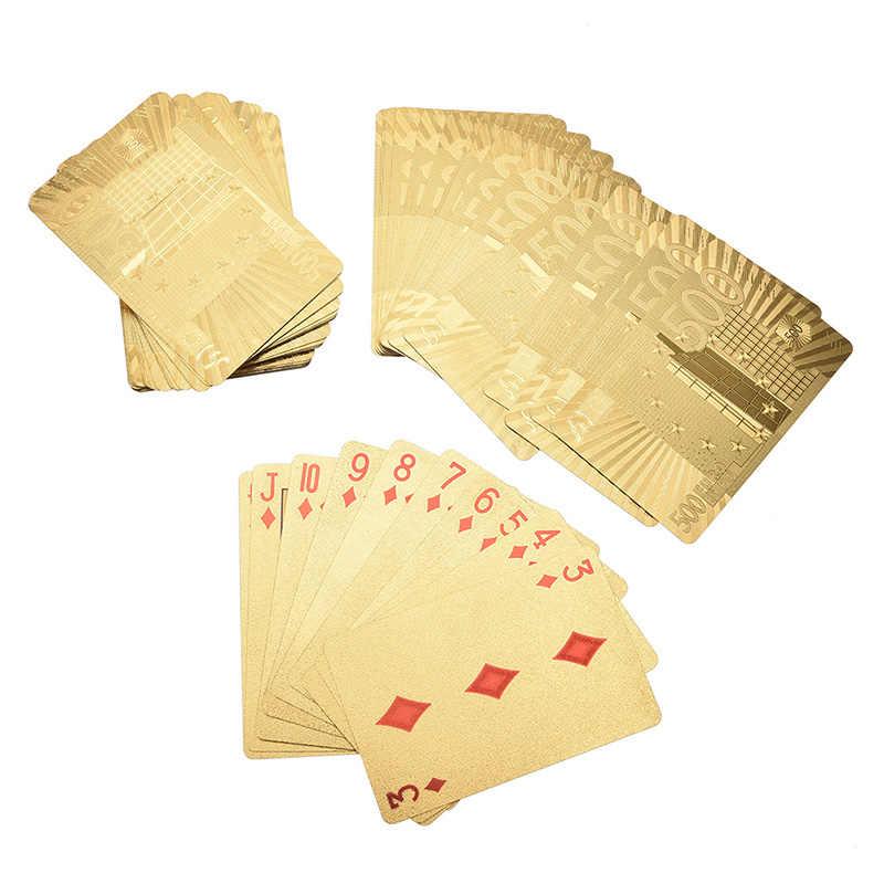 Or argent PVC Poker Euros USD Style cartes à jouer 10 Styles cartes étanches jeu de société 1 boîte