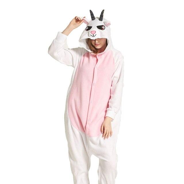 36c8ece614b5 Adultos pijamas de cabra Sets unisex pijamas polar pijamas invierno camisón  pijamas animales mujeres Halloween Navidad