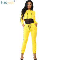 HAOYUAN Casual Two Piece Set Yellow Side Striped Hooded Crop Tops Pants Long Sleeve Hoodies Outfits
