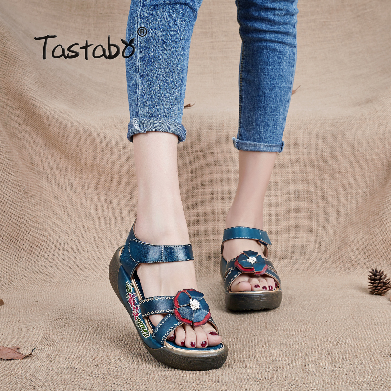 Tastabo Натуральная кожаные сандалии гладиаторы модные на низкой танкетке цветок летняя обувь женские сандалии на платформе Для женщин обувь ...