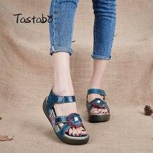 Tastabo Genuine Leather Gladiator Sandals Fashion Low Wedges