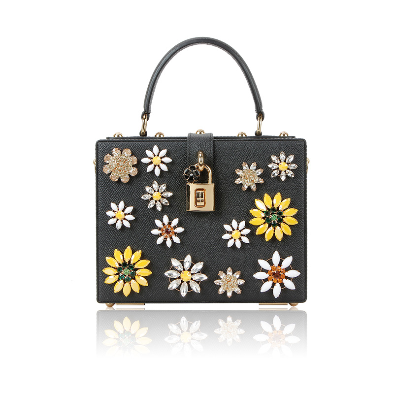 Europe and the big stone bead package box bag Crossbody Bag Small Portable female flower