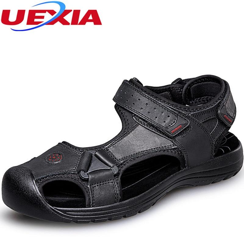 Плюс размеры 38–46 Мужские шлепанцы брендовые кожаные Zapatos из воловьей кожи Модная Летняя Пляжная повседневная обувь мужские тапочки дышащи...