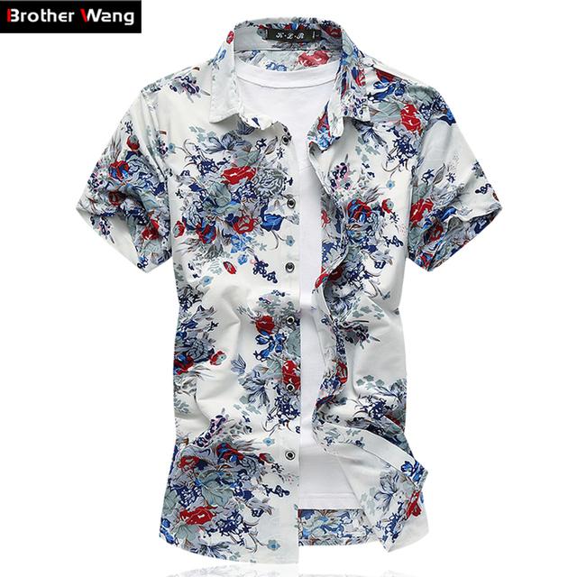 Verão Mens Camisa Estampa floral Camisa Casual Masculino Camisa de Manga Curta de Alta Qualidade Elasticidade Roupas de Marca Tamanho Grande 6XL 7XL