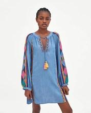 Women Casual Long Sleeve Geometric Embroidered Dress Fashion  O-Neck Mini Dresses Loose Tassel Denim Dresses цены