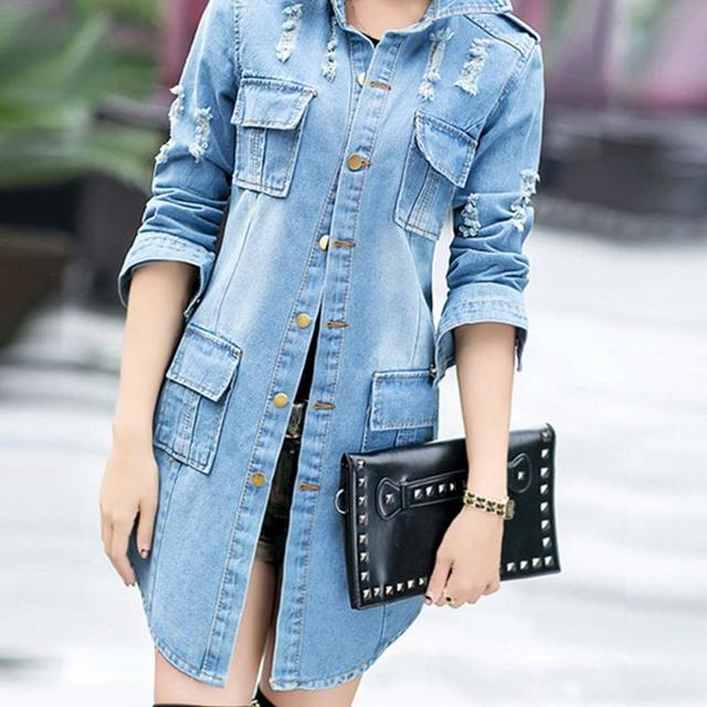 Spring Denim Long Jacket Coat Blue Slim Fit