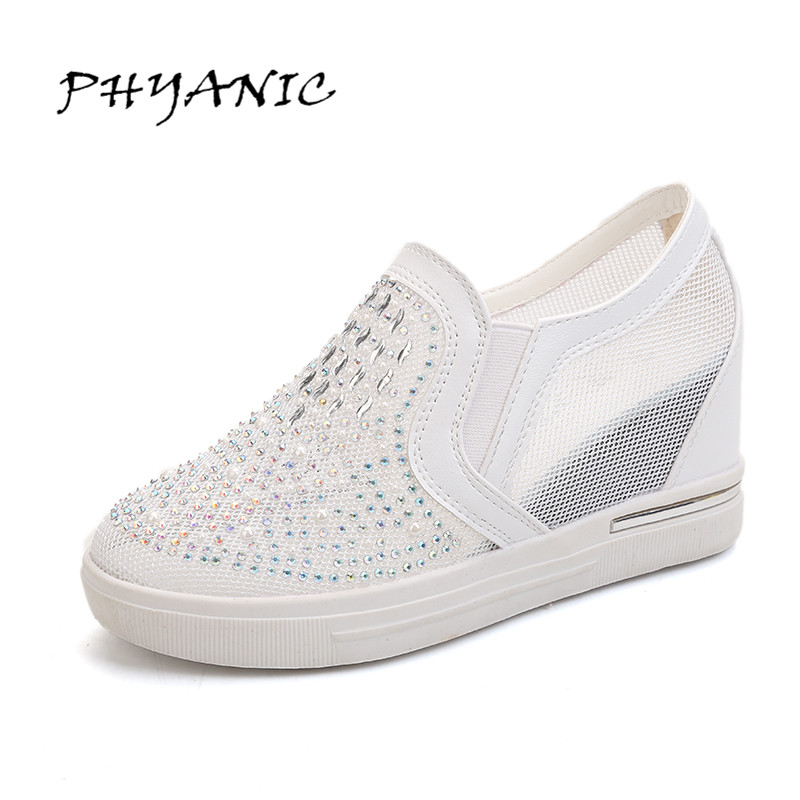 PHYANIC Woman Casual Shoes Bling Glitter Platform Height Increasing Mesh PU Fashion Slip on Woman Casual White Shoes PHY3203 phyanic crystal shoes woman 2017 bling gladiator sandals casual creepers slip on flats beach platform women shoes phy4041