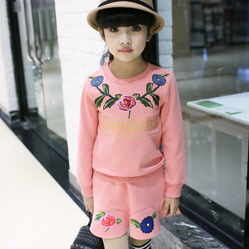 Spring girl new Floral Dress Embroidery two piece