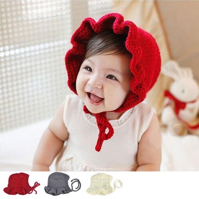 ... uk 2017 cute newborn infant knitted baby hats solid princess caps baby  girls bonnet newborn photography 85561e480792