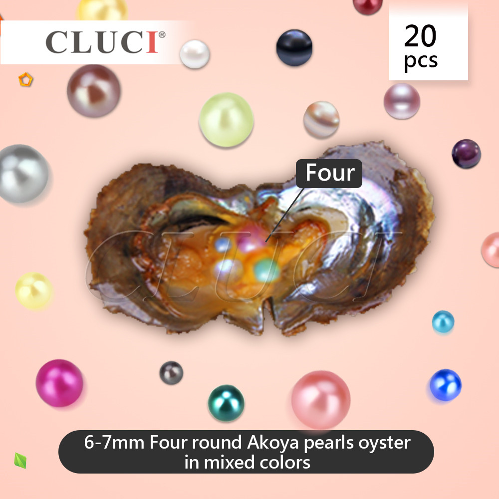 CLUCI Quadruplets Pearl Oysters, 4 pearls in each oyster, can get 20pcs oysters, 80pcs MIXED raindom colors 6 7mm pearls