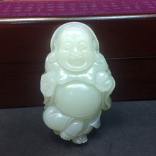 Фотография Natural White Jade Buddha wealth luck Carved jade amulet chinese MILEFO Laughing Buddha propitious pendant