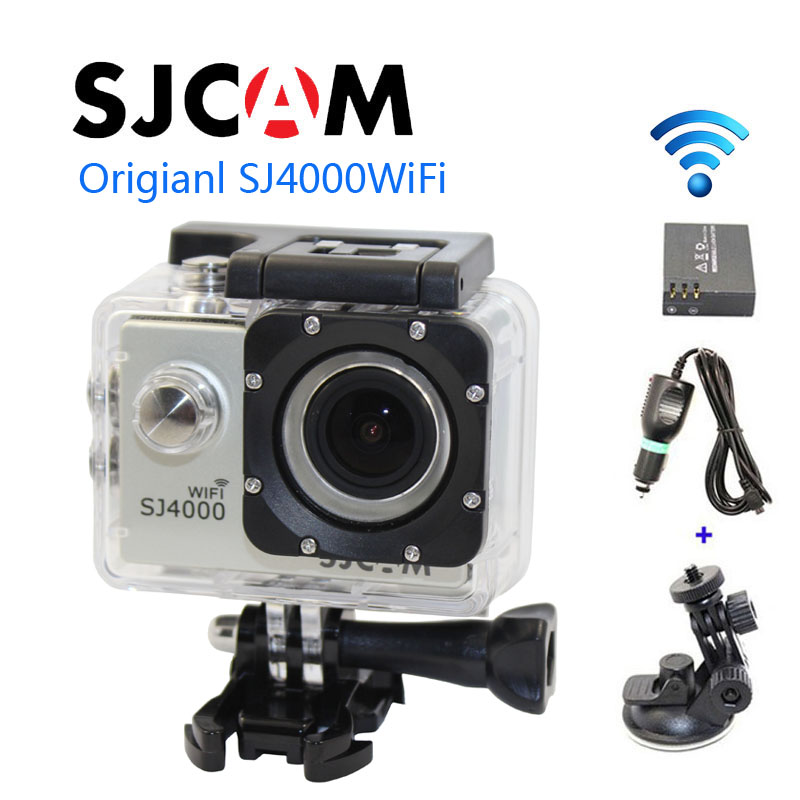 Free shipping!!Original SJ4000 WiFi SJCAM  Sport Action Camera+Car Charger+Holder+Extra 1pcs battery for DV camera free shipping original sjcam sj5000 sport action camerar car charger holder monopod extra 1pcs battery battery charge for camera