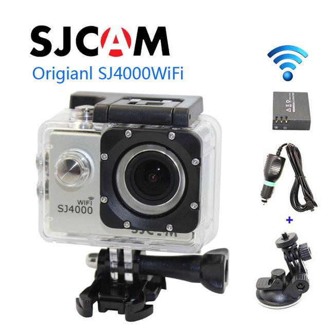 Frete grátis!! original sjcam sj4000 wifi esporte action camera + carregador de carro + suporte + extra 1 pcs bateria para câmera dv