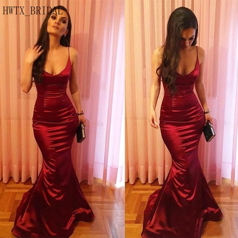 Arabic Sexy Mermaid   Evening     Dress   2019 Spaghetti Straps V Neck Burgundy Satin Long Special Occasion Formal Prom   Dresses   Gown
