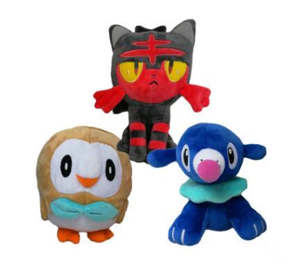 3 pièces/ensemble Anime Figure doux Plsuh peluche Animal poupée soleil/lune Litten Popplio Rowlet enfants jouets