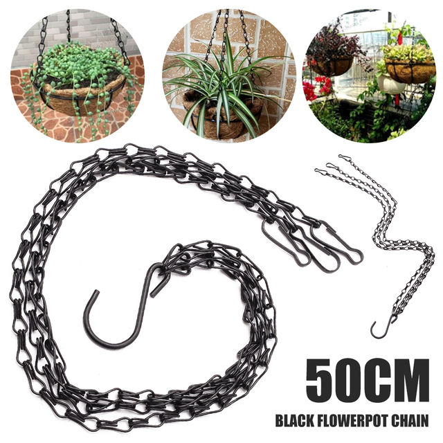 Exceptionnel Black Flower Plant Pot Basket Holder Hanging Chain With S Shape Hooks For  Home Garden Tools