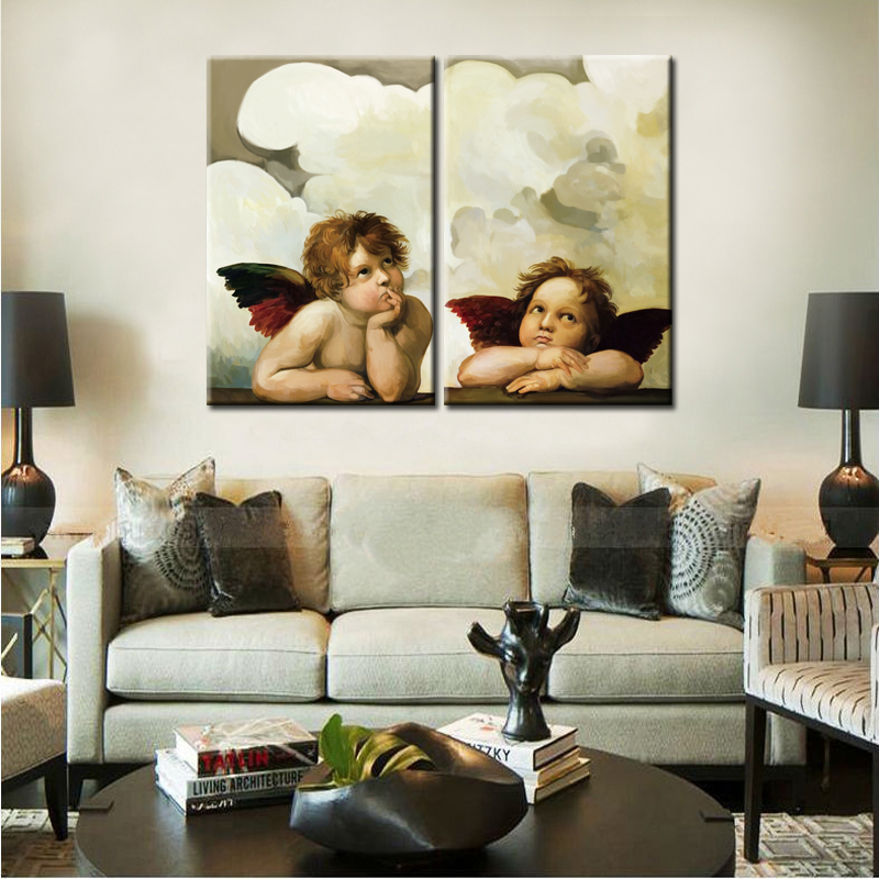 2Panel Big Size Stampa HD Angelo Pensavo Pittura ad olio su tela - Home decor
