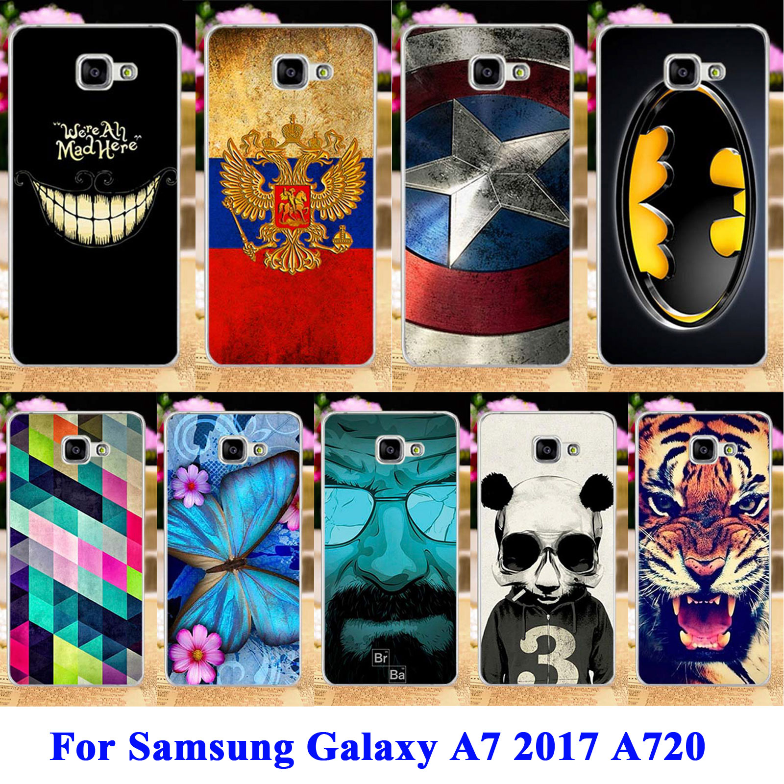 Anunob Cell Phone Cases For Samsung Galaxy A7 2017 Covers Duos A720 Cat Tiger Captain American Soft TPU Bag Shell