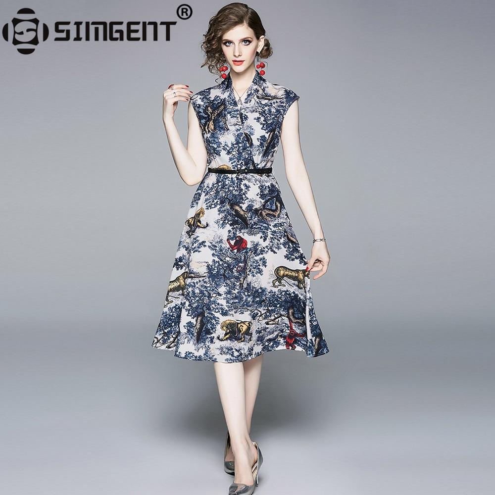 Simgent Womens Dress New Arrival Summer Vintage V Neck Belted Knee Length Printing Dress Sommerkleid Dames Jurken Femme SG9616-in Dresses from Women's Clothing on AliExpress - 11.11_Double 11_Singles' Day 1